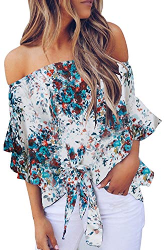 (Off The Shoulder Shirts Floral Pattern Bell Sleeve Tie Knot Front Casual Chiffon Blouse Tops White XXL )