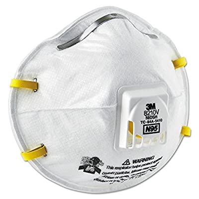 3M Personal Safety Division 8210V N95 Particulate Respirators, Half Facepiece, Non-Oil Filter, One Size, White (Pack of 80)