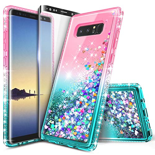 Galaxy Note 8 Case, NageBee Glitter Liquid Quicksand Waterfall Flowing Sparkle Shiny Bling Diamond Girls Cute Case w/[Full Cover Screen Protector Premium Clear] for Samsung Galaxy Note 8 -Pink/Aqua