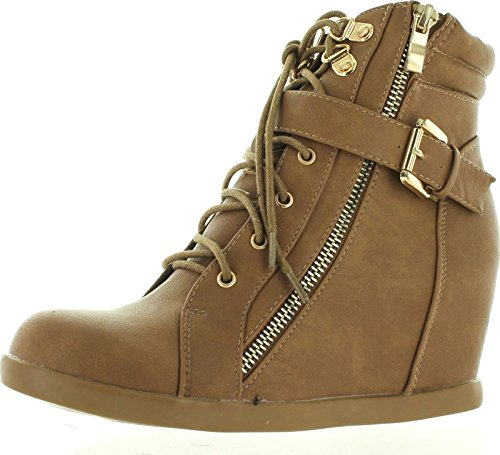 Top Moda Womens Peter-1 Fashion Sneakers,Taupe,5.5