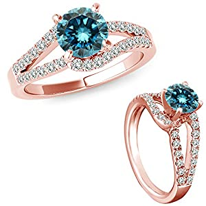 0.50 Carat Blue Diamond Solitaire Promise Wedding Anniversary Bridal Fancy Ring 14K Rose Gold