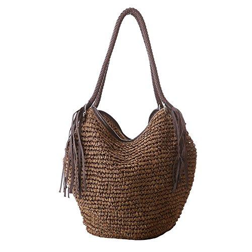 Women Straw Shoulder Bag Summer Beach Bag Tassels Tote Bag Cotton Lining Top Handle Hobo Shopper Handbag Bucket ()