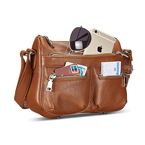 5be70520b1 Lecxci Women s Large Soft Leather Multi-purpose Crossbody Handbag Shoulder Travel  Bags Purses for Women (Brown) - KAUF.COM is exciting!