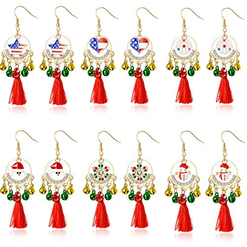 (Christmas Drop Dangle Red Tassel Earrings Bell Jingle for Womens Girls Kids Holiday Jewelry Set Xmas US Flag Heart Love Star Rhinestone Snowman Snowflake Santa Claus Christmas Earrings(6pairs) )