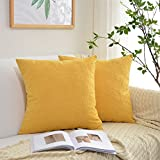 Decorative Pillow Cover - Kevin Textile Christmas Decor Soft Solid Velvet Toss Throw Pillow Cover Fashion Striped Decorative Pillow Case Handmade Cushion Cover for Couch, 20x20 inches, 2 Pieces, Primrose Yellow
