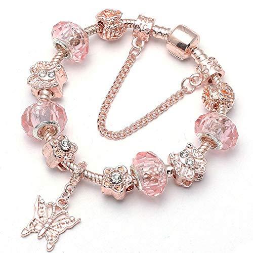 GSYDSZ Charms Beads Rose Gold Color Serpiente Pulsera de Cadena Fit Original Pulsera Fina Brazalete para Las Mujeres Joyería...