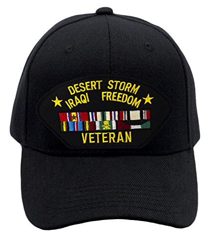 Patchtown Desert Storm/Iraqi Freedom Vet Hat/Ballcap (Black) Adjustable One Size Fits Most (Iraqi Cap Ball Freedom)