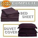Clara Clark Complete 7-Piece Bed Sheet and Duvet Cover Set, Queen, Purple Eggplant