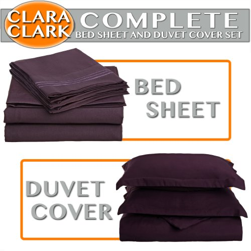 Clara Clark Complete 7-Piece Bed Sheet and Duvet Cover Set, Queen, Purple Eggplant