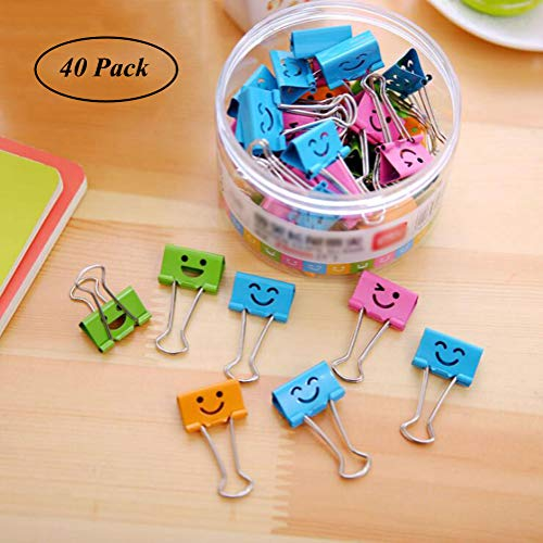 (Coideal 40 Pack 19mm Smiling Binder Paper Clips/Mini Colored Metal Foldback Fun Clip Clamps with Cute Hollow Smile Face for Pictures Photos, Food Bags, Assorted Color (0.75 inch, Small))