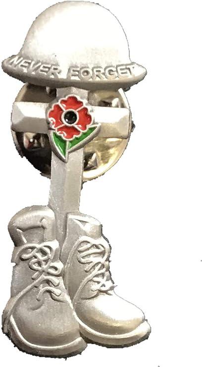 WWI Soldier Veteran Army Helmet Boots Red Silver Poppy Enamel Pin Badge Brooch