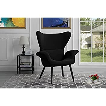 Contemporary Velvet Accent Armchair, Futuristic Style Living Room Chair (Black)