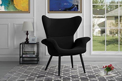 Modern Velvet Accent Chair (Black)