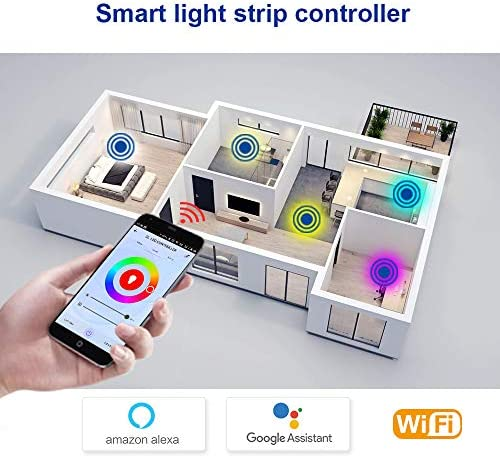 DC 5V 5 pin is Suitable for 5050 RGBW Android//iOS System WiFi Wireless Controller Mobile Phone Control App Mobile Phone Application Online Adjustment lamp Belt Support  Alexa Google Home