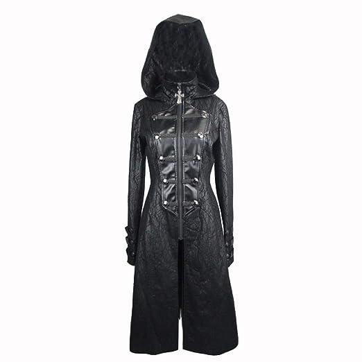 Cazadora de cuero con cremallera negra para mujer, traje de ...