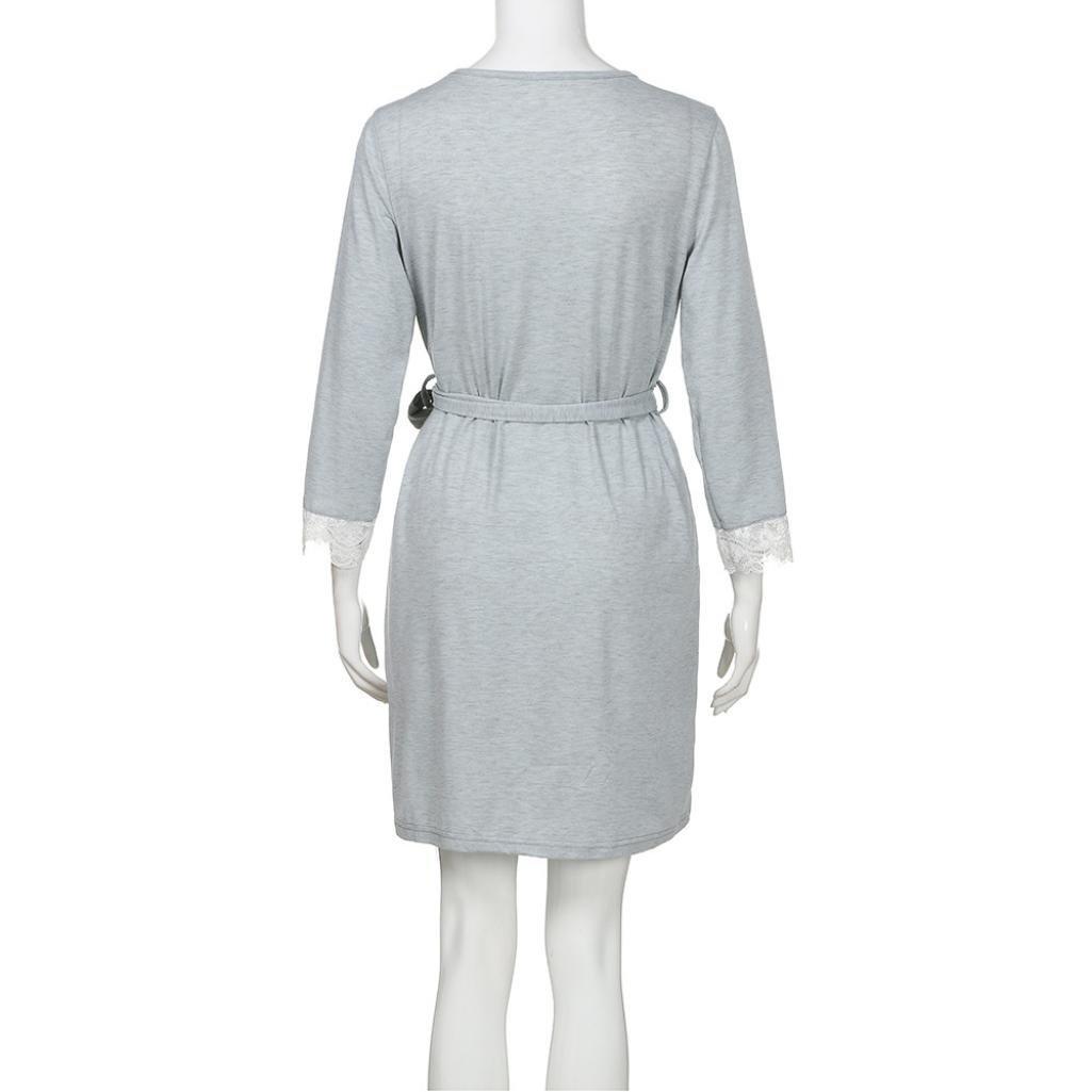 QinMM Vestido de Lactancia Maternidad de Noche Camis/ón Mujeres Embarazadas Ropa de Dormir Premam/á Pijama Verano Encaje
