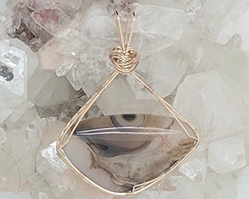 Montana Moss Agate Pendant (2-1/4 X 1-3/4 Inches) Wrapped With 14 Karat Gold Filled Wire (Natural Stone Pendant) (Brown) (Wire Wrap)