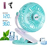 Mini Battery Operated Clip Fan,Sall Portable Fan Powered by Rechargeable Battery or USB Desk Personal Fan for Baby Stroller Car Gym Workout Camping,Green (green)