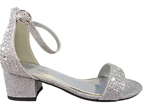 8f8556e8758a Girls Diamante Party Bridesmaid Low Block Heel Shoes Silver Black Bling  10-2Uk  Amazon.co.uk  Shoes   Bags
