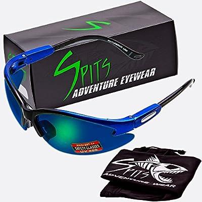 Spits Cougar Safety Glasses - Blue/Black Frame - Grey Lenses G-Tech Blue Coated