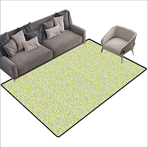 Floor Mat Kitchen Long Carpet Green,Doodle Style Cute Kids Girls Pattern with Daisy Flower Blooms,Olive Green Light Green Turquoise 80