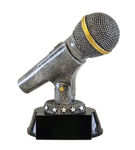 Decade Awards Silver Microphone Trophy  Karaoke Singer Award - Engraved Plate on Request Exclusive, 6 inches tall -