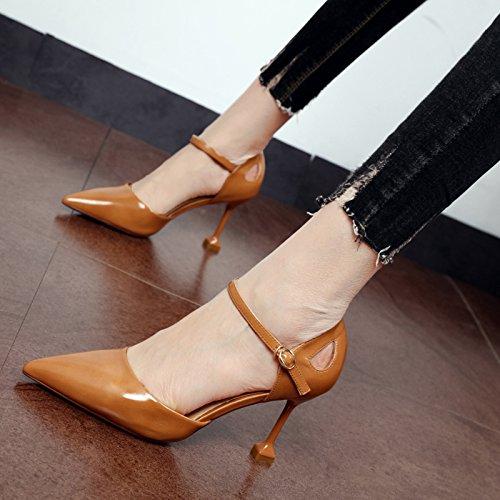 zapatos Zapatos Corte alto claro La beige Zapatos palabra talón Xue de versátil para solo zapatos Qiqi punta la mujeres luz de Marrón y la qwIgv1O