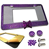 Best License Plate Covers - Bling Crystal License Plate Frame -1PC Sparkly Purple Review