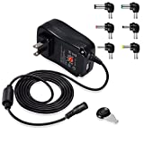 Vlio 30W 3V-12V Regulated Multi Voltage Switching Power AC/DC Adapter includes 6 detachable DC output plugs for Household Electronics Routers Speakers CCTV Cameras Smart Phone USB Charging Devices