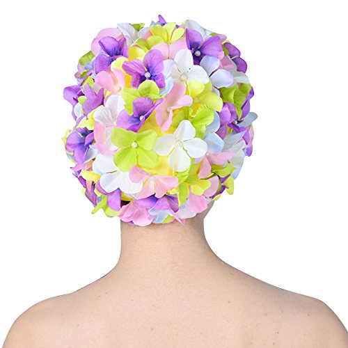 Richermall Vintage Swim Caps Petal-Retro Style Floral Ladies Woman Swimming Cap Bathing Cap (Multicolor)