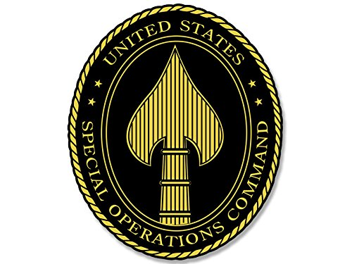 American Vinyl Black Oval Special Operations Command Seal Sticker (Spear socom ops)