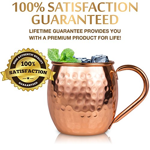 Moscow Mule Copper Mugs Set : 4 16 oz. Solid Genuine Copper Mugs Handmade in India, 4 Straws, 4 Wood Coasters, & Shot Glass : Comes in Elegant Gift Box, by Yooreka by Yooreka (Image #3)