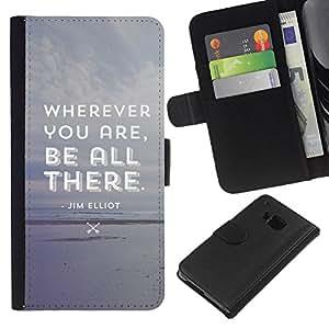 KingStore / Leather Etui en cuir / HTC One M7 / Sé todo lo que hay atento Gris Beach texto