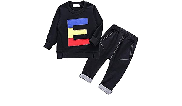 Maylife Kids Baby Toddler Boys Spring Autumn Long Sleeve E Letter Print T-Shirt Pocket Jeans Pants Outfits Set