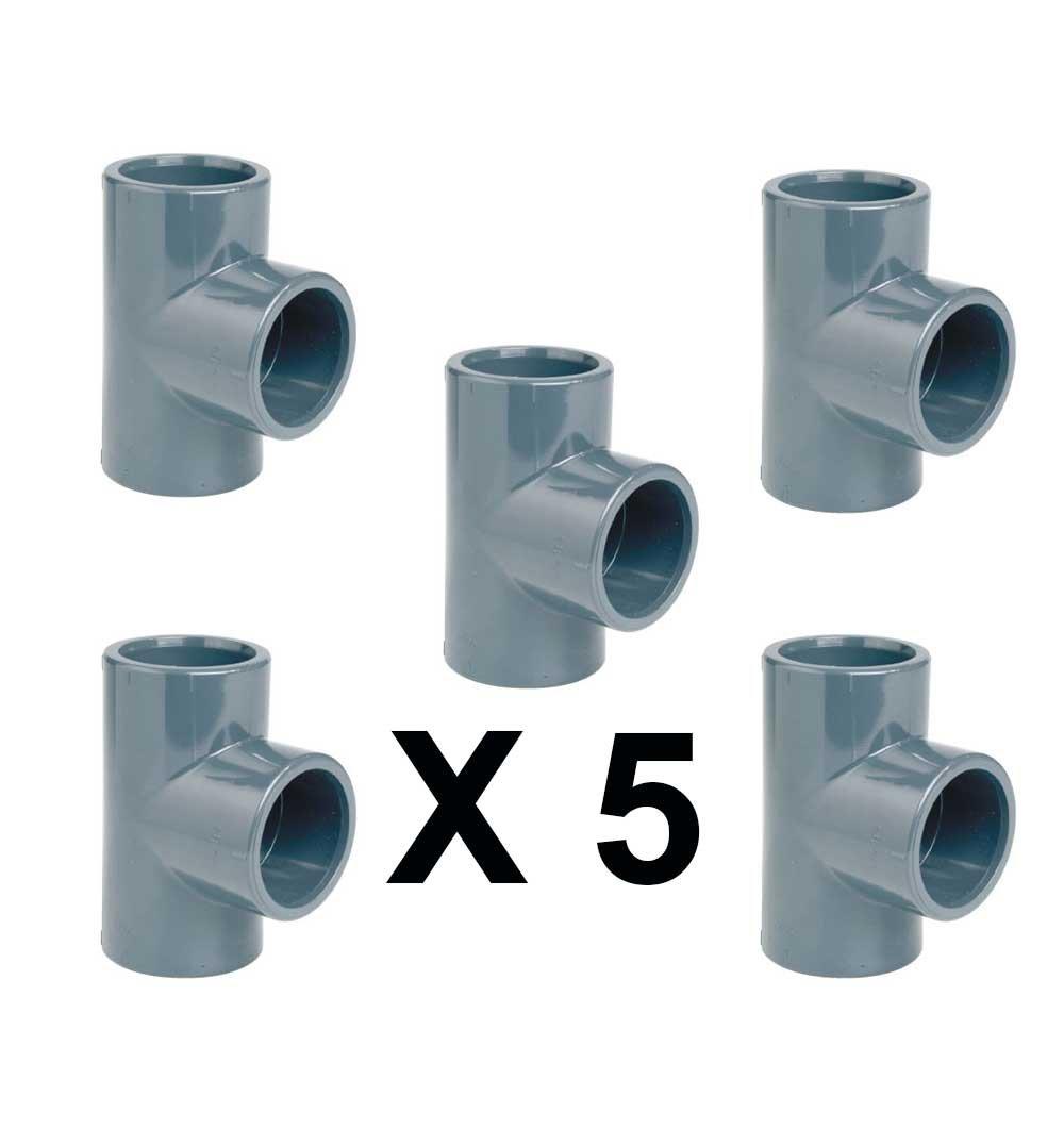 5 pezzi raccordo PVC incollaggio grigio diametro 20 mm a TI 90 gradi 3 vie tubo connettore
