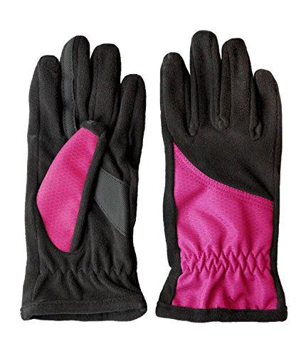 Isotoner Women's SmarTouch Matrix Nylon Fleece Glove Topstitch Detail, Fuschia ()