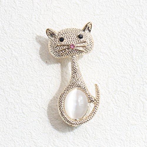 Korean Korean Meng Meng cute cat brooch inlaid artificial opal brooch pin small men and women the same paragraph