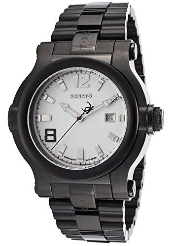 Dial Black Ip Bracelet - Renato Men's T-Rex Black IP Steel Bracelet White Dial