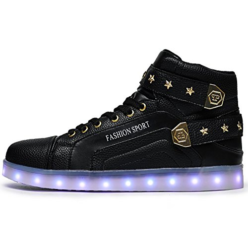 Womens Mens Led Shoes 7 Colors Neon Light up Luminous Glowing Fashion Sneakers (9.5 B(M) Women/8.5 B(M) Men, Black)