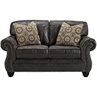 Flash Furniture Benchcraft Breville Loveseat in Charcoal Faux Leather