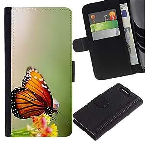WINCASE ( No Para Xperia Z1 ) Cuadro Funda Voltear Cuero Ranura Tarjetas TPU Carcasas Protectora Cover Case Para Sony Xperia Z1 Compact D5503 - alas de mariposa flor verde