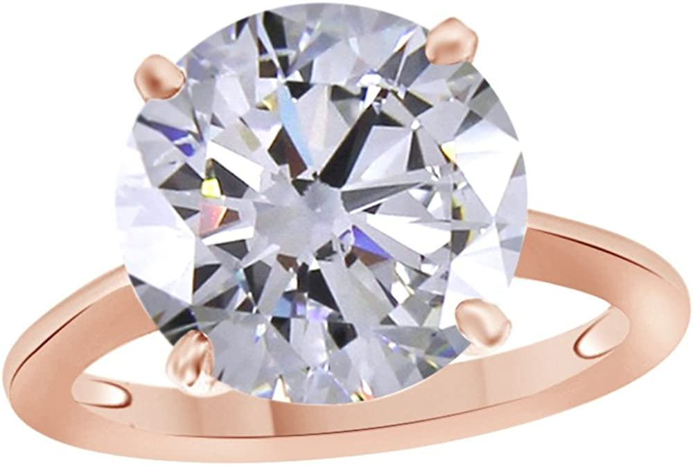 Jewel Zone US Round Cut White Cubic Zirconia Anniversary Solitaire Ring in 14k Gold Over Sterling Silver (2.5 Carat)