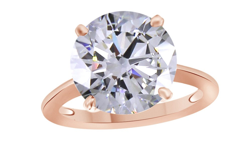Jewel Zone US Round Cut White Cubic Zirconia Anniversary Solitaire Ring in 14k Rose Gold Over Sterling Silver (3 Carat)