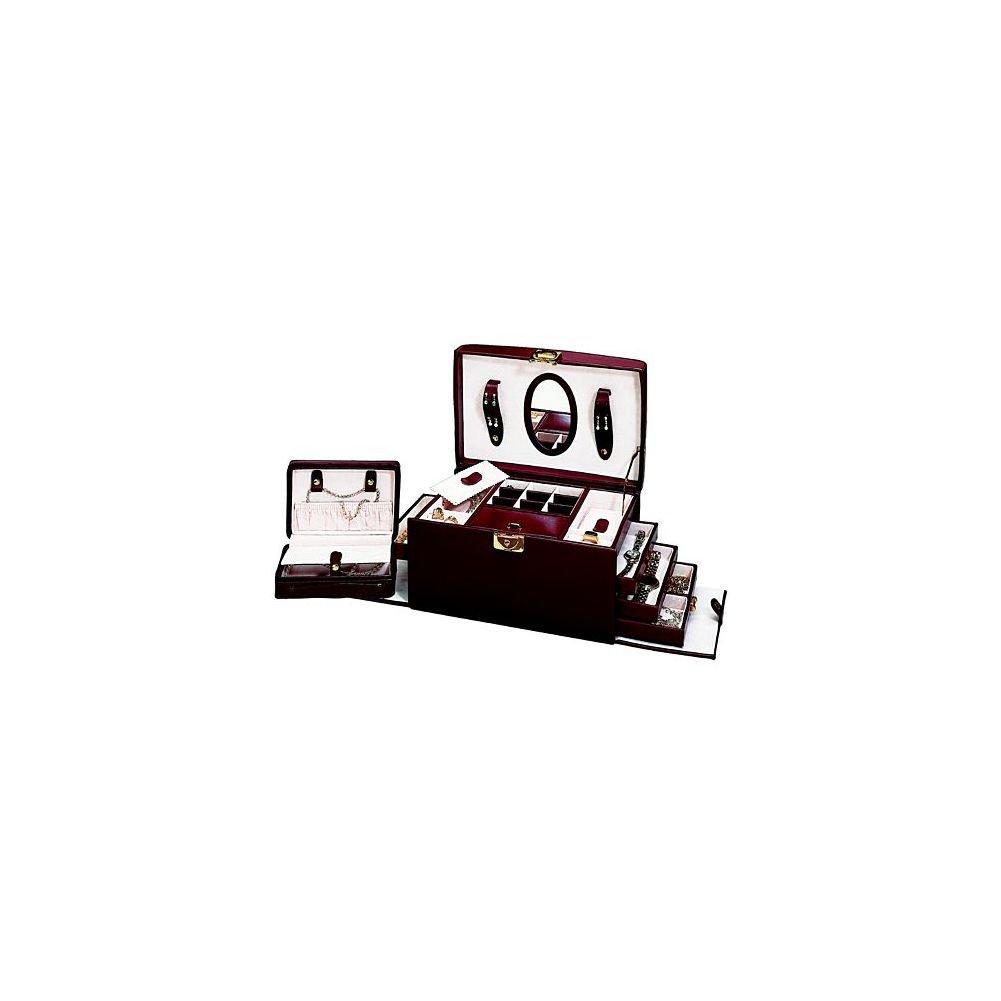 Budd Leather Jewel Box with Handle, 4-Drawer and Travel Box, Burgundy