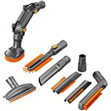 VonHaus Vacuum Cleaner Attachments / Accessories for 32mm (1 1/4 inch) & 35mm (1 3/8 inch) Standard Hose - 8 Pc Crevice Upholstery Brush Tool Cleaning Kit Ideal for Canister and Upright Vacuums
