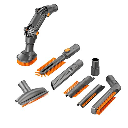 VonHaus Universal Vacuum Cleaner Attachments / Accessories for 32mm (1 1/4 inch) & 35mm (1 3/8 inch) Standard Hose - 8 Pc Crevice Upholstery Brush Tool Cleaning Kit