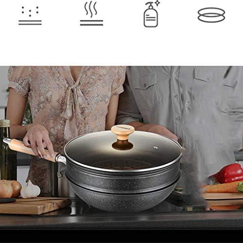 WYJBD Wok - Dortoir multi-fonction des ménages Maifan Pierre Wok Uncoated non antiadhésif Fumée Pan gaz Cuisinière à induction