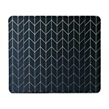 Schoolsupplies Gold Chevron Black Rectangle Non-Skip Rubber Mouse Pad