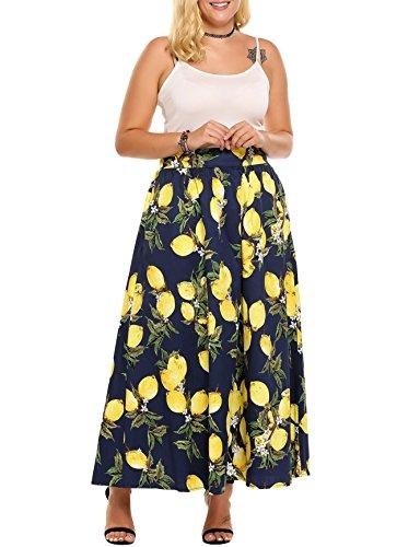 7920434c98 Zeagoo Women Plus Size African Maxi Skirts High Waist w/ Pockets,Navy Blue,