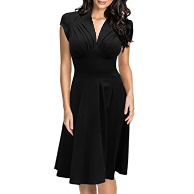 72f6a3b3ae Women s Deep-V Neck Cap Sleeve Cocktail Fold Wrap Rockabilly Swing Skater  Dress S Black